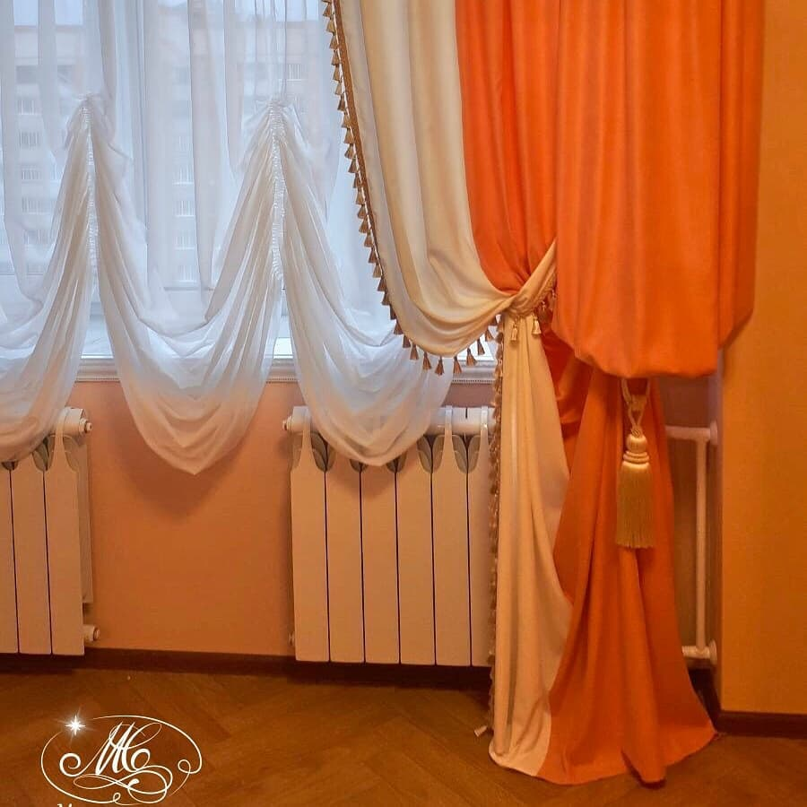 Монохромные французские шторы